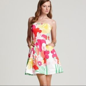 LILLY PULITZER 100% Floral Strapless Dress